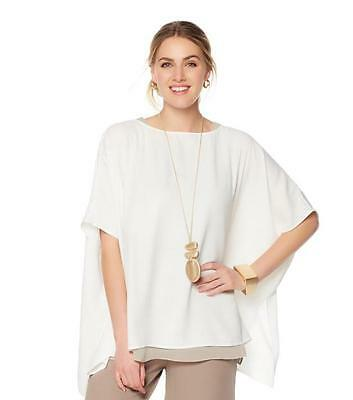 b6e81b400 WynneLayers Women's Pullover Crepe Easy Poncho Top Cloud White X-Small Size  HSN