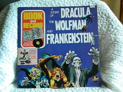 Vintage 1975 A Story of Dracula The Wolfman & Frankenstein Comic Book & Record