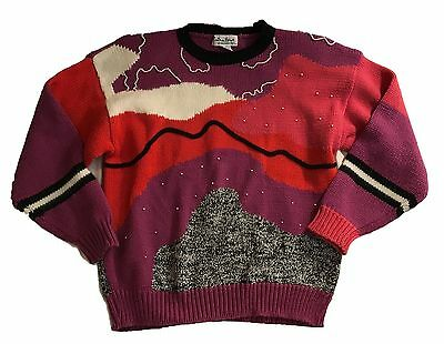 Extra Point by Reference Point 1980s Pearl Beaded Abstract VTG Sweater SZ 1X