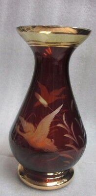 """VINTAGE BOHEMIAN DARK AMBER Cut to Clear ENGRAVED ETCHED SPA GLASS Vase 8.25""""!"""