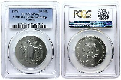 20 Mark 1979 Lessing Democratic Republic East Germany Pcgs Ms68 Top Pop 4