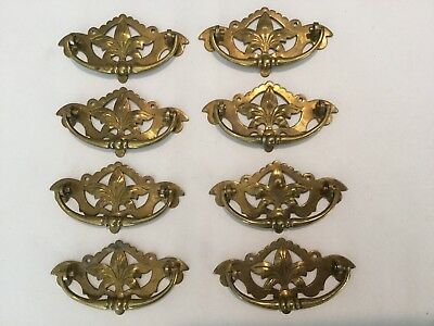 8 Antique Brass Drawer Handle Pull Hardware