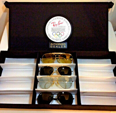 Vintage Ray Ban Sunglasses B&L USA Lined Storage Case w/ 1992 Olympic Badge