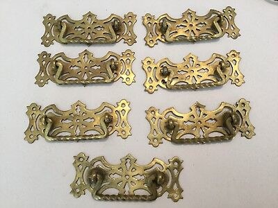 7 Antique Brass Drawer Handles Pulls Hardware Twisted Bail