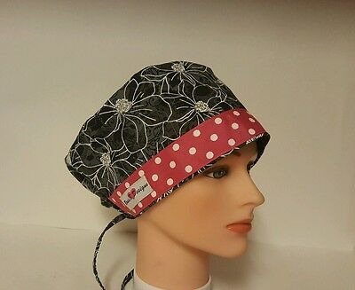 Floral  Black /white  Design/hat Pixie   Scrub Surgical / Medical/ Cap /chemo