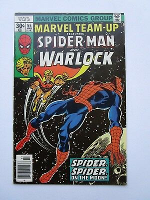 '77 Marvel Team- Up # 55 In Very Fine Condition,with Warlock & Spider-Man