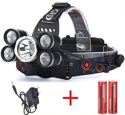 Linterna frontal recargable 10000LM 5x XM-L XML T6 de cabeza OUTDOOR headlamp