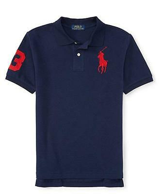 Clearance Boys Toddler Polo Ralph Lauren Big Pony Polo Shirt Navy Red 2T