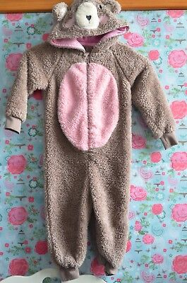 Girls 18-24 Months Fluffy Brown and Pink Sleepsuit All in One Pyjamas