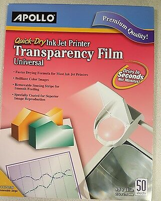 """Apollo Quick Dry Universal Ink Transparency Film, 8.5 """"x 11"""", 50 Sheets - New!"""