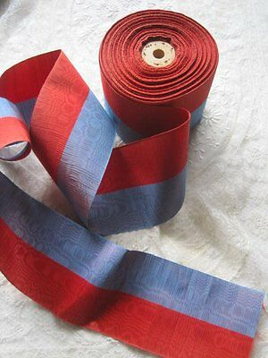 Vintage French Watered Silk Blue And Red Ribbon Trim   1 Yard