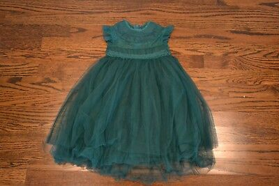 Toddler Girls Emerald Green Tulle and Lace Dress, Size 3T