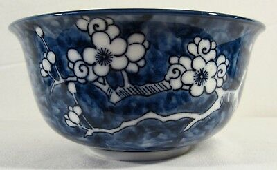 Beautiful Porcelain Round Asian Bowl Cobalt Blue w/ White Flowers