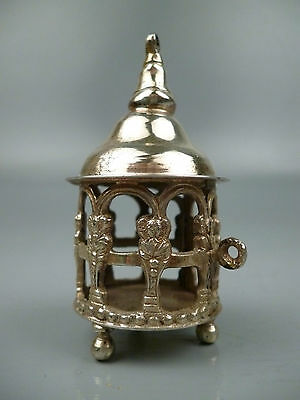 Antique Signed Simon Rosenall Solid Silver 800 Miniature Birdcage SL