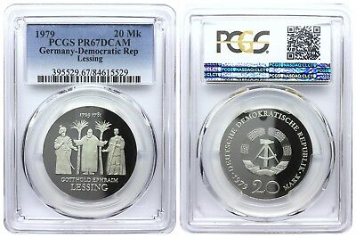 20 Mark 1979 Lessing Democratic Republic East Germany Pcgs Pr67Dcam
