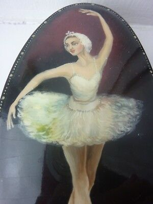 Antique  Black Papier Mache  Box Painting Of A Ballerina  Mother Of Pearl