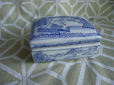 Vintage--Blue-White-Porcelain-Asian-Chinese-Shard-Trinket-Jewelry-Box