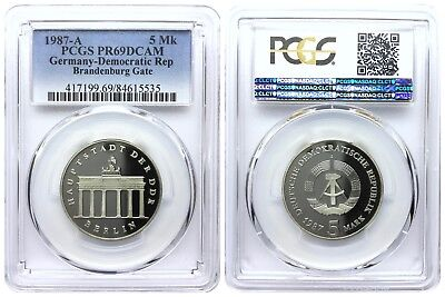 5 Mark 1987 Brandenburg Gate Democratic Republic Germany Pcgs Pr69Dcam Top Pop 2