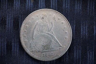 1842 Seated Liberty Silver Dollar Nice Original Color