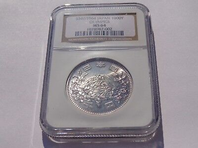 1964 Japan Olympics Silver 1000 Yen Ngc Ms-64 No Reserve! Super Nice! Must See!!
