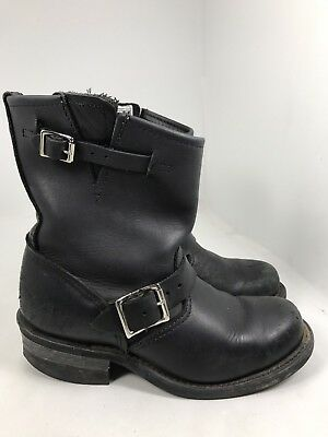FRYE Black Leather Engineer Moto Boots Mid Calf Ankle Women's 7