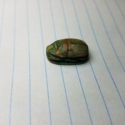 "Beautiful EGYPTIAN Stone SCARAB Amulet  7/8""×1/2""×1/4"", hyroglyphics intact"