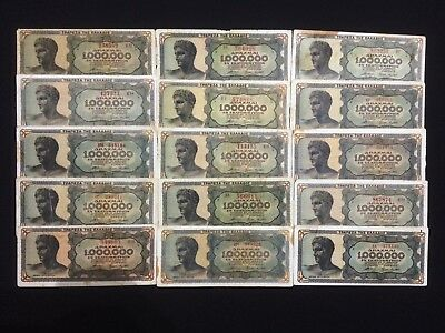 15 pcs Greece 1000000 Drahmi 1944 Lot  #3012#