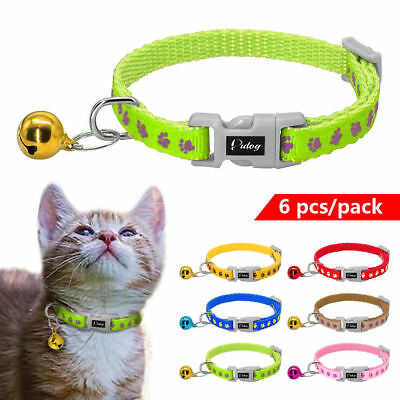 6pcs Nylon Paw Print Pet Puppy Cat Kitten Small Dog Collar with Bell Chihuahua