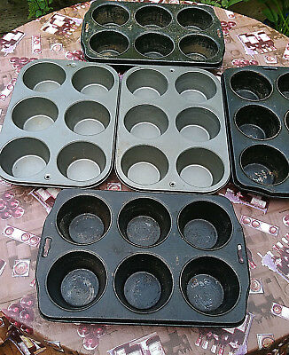 Lot Of (5) Heavy Duty Commercial Large/jumbo Muffin/cup Cake Steel Baking Pans