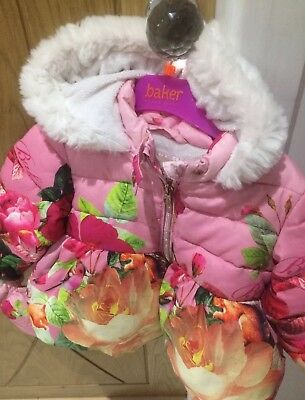 18-24 Mnth gorgeous girls ted baker winter coat with attached mitts in vgc