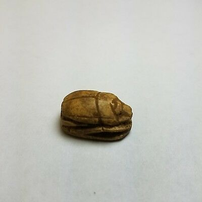 "Beautiful EGYPTIAN Stone SCARAB Amulet  7/8""×1/2""×5/16"", hyroglyphics intact"