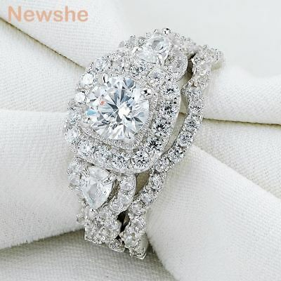 Newshe Engagement Wedding Ring Set 925 Sterling Silver Round Pear White Cz 5-12