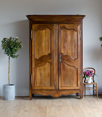 French Antique 19C Knockdown Walnut Wardrobe Armoire Cupboard with Double Doors