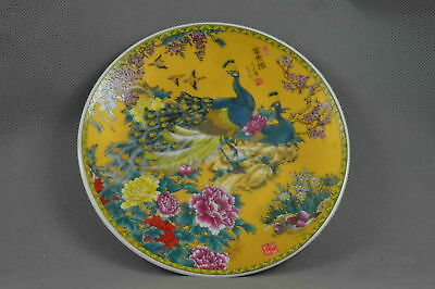 China Collectable Handwork Porcelain Painting Peacock & Flower Lucky Noble Plate
