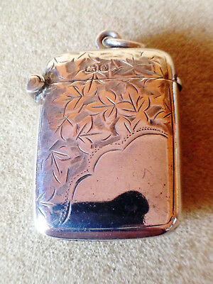 Solid Silver Antique vesta case 1904