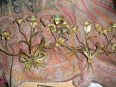 Antique French Pair Early Wrought Iron Candle Wall Sconces Floral Leaves