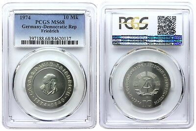 10 Mark 1974 Friedrich Democratic Republic East Germany Pcgs Ms68