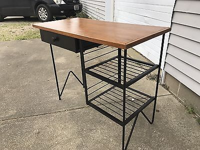 Vintage Mid-Century Modern wrought iron desk hairpin legs