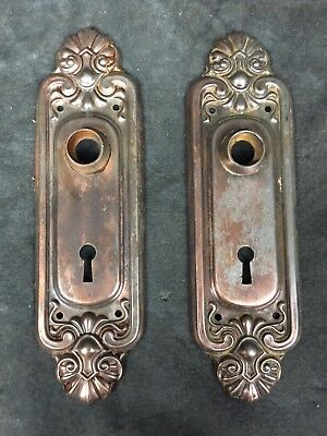 2 Matching Vintage Antique Fancy Ornate Door Knob Backplate Plate Covers