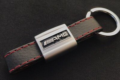 Luxury AMG Mercedes Benz Badge Key Ring, Artificial Leather Red Finish Keyring