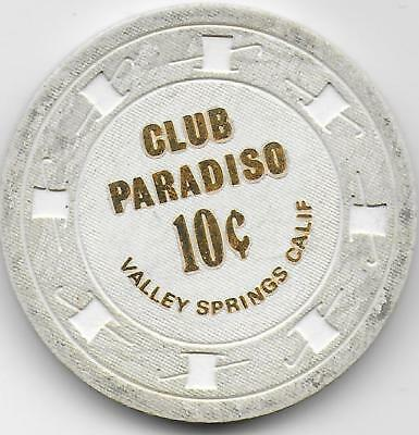 .10 Cent Casino Or Cardroom Chip-CLUB PARADISO-Valley Spgs., Ca.-C7740-Cl. 1973