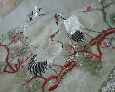 Chinese silk embroidered panel crane birds