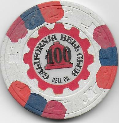 $100 Casino Chip-CALIFORNIA BELL-Bell, California-C1830-Closed 1980