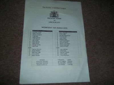 Halifax Town V Lincoln City Reserves Pontins League 16Th March 2005 S/s