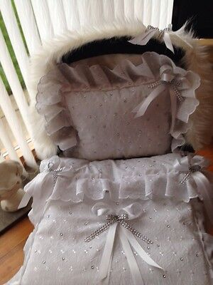 All WHITE DOLLS PRAM QUILT SET FOR SILVER CROSS COACH BUILT   + FUR HOOD TRIM