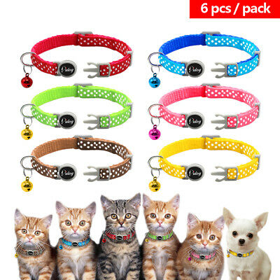 6pcs Pet Puppy Small Dog Kitten Cat Breakaway Collar Safety Quick Release&Bell