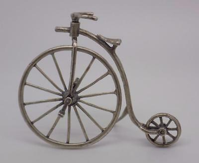 Vintage Sterling Silver 925 Italian Made Old Bicycle Miniature, Figurine, Stamp