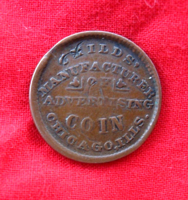 Rare 1863 Chicago Civil War Token Childs` Manufacture Of Advertising Coin