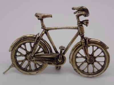 Vintage Solid Silver Bicycle Miniature - Dollhouse - Stamped - Made in Italy