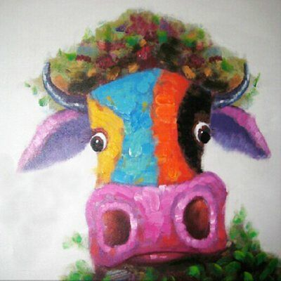 Modern Cow Oil Hand Painting Canvas Framed Wall Art Home Hanging Decor Picture